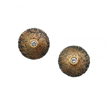 Oxidized Silver and Gold Dust Diamond Statement Studs