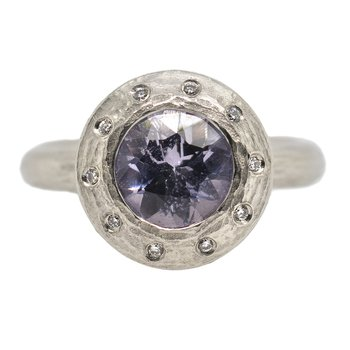 Lavender Spinel (1.37ct) Ring with Diamond Accents in Platinum
