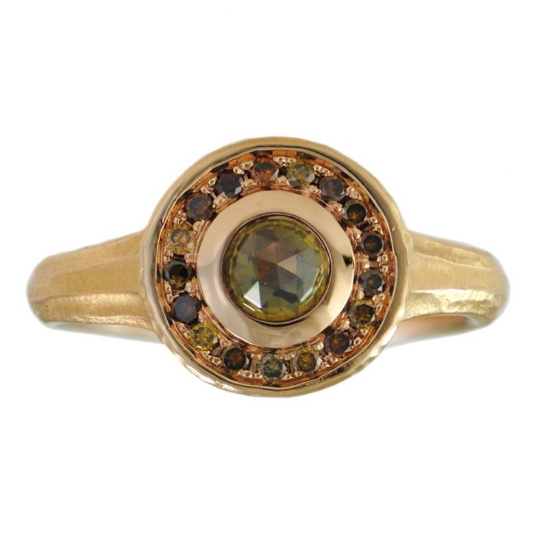 Michael Endlich Designs Yellow Diamond Ring with Autumn Colored Diamond Halo in 18K Rose Gold