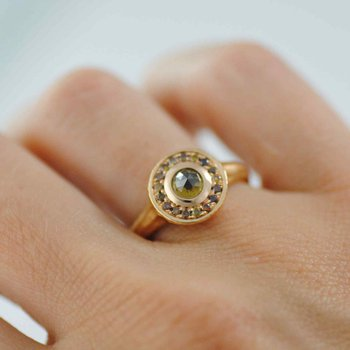 Yellow Diamond Ring with Autumn Colored Diamond Halo in 18K Rose Gold