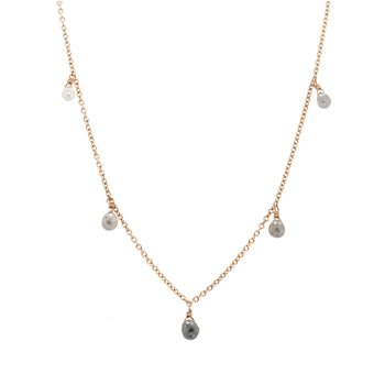 Gray Diamond Briolette Necklace in Rose Gold