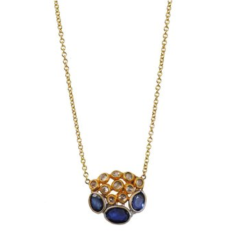 Blue Sapphire & Diamond Clusters Necklace in 18K Yellow Gold