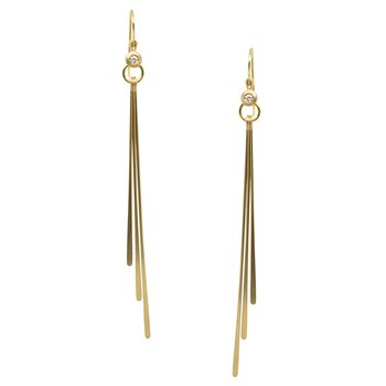 Diamond and Gold Beam Earrings