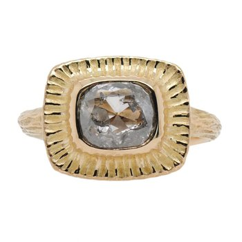 Rustic Diamond (1.53ct) Ring in Textured 18K Gold