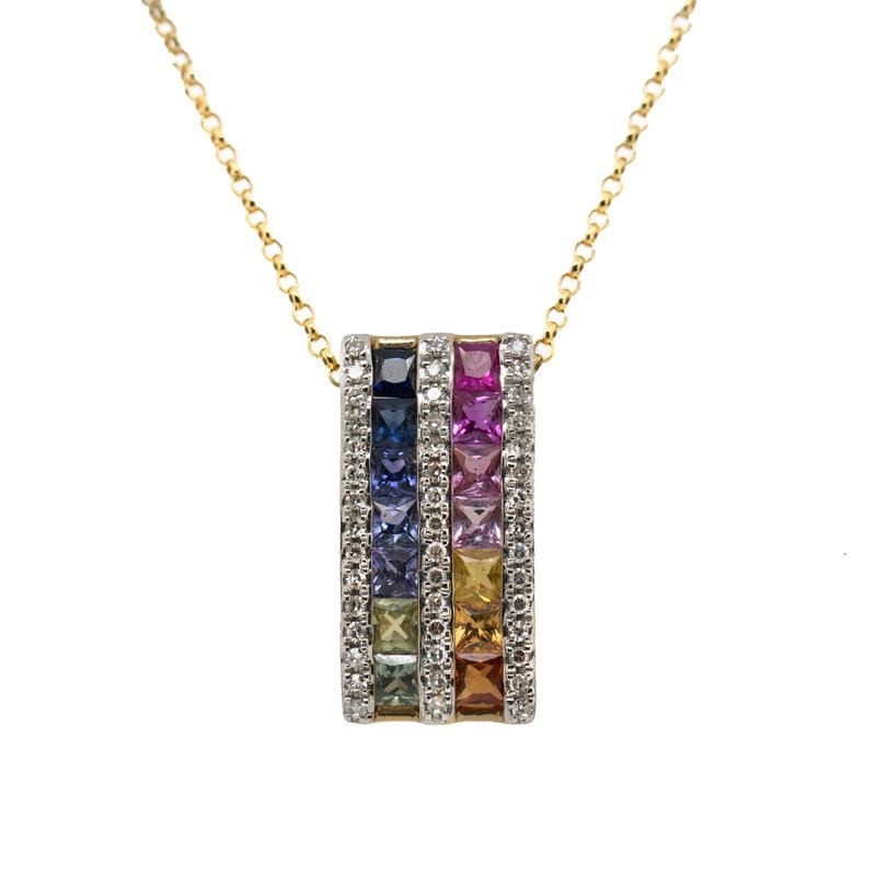 Extended Collection Rainbow Sapphire Necklace with Diamonds in 14K Gold
