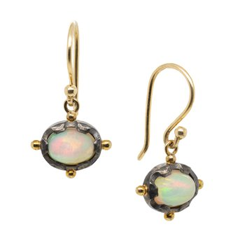 Opal Earrings in Gold and Oxidized Silver