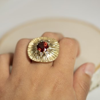 Spessartite Garnet (7.96ct) Ring with Diamond Accents in 18K Yellow Gold