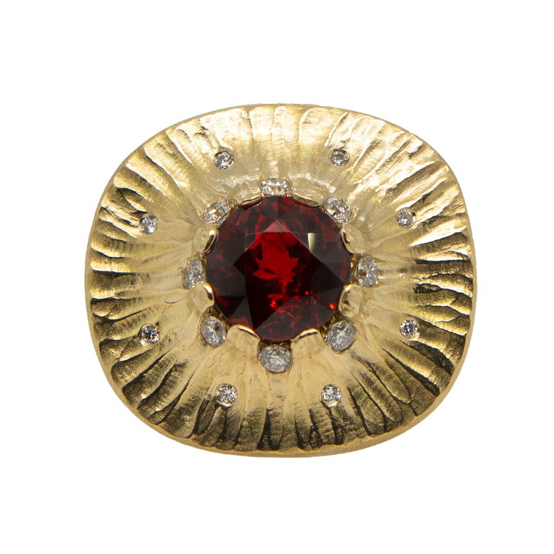 Michael Endlich Designs Spessartite Garnet (7.96ct) Ring with Diamond Accents in 18K Yellow Gold