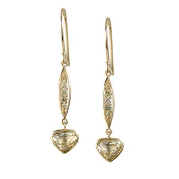 Yellow Diamond Earrings Suspended in 18K Gold