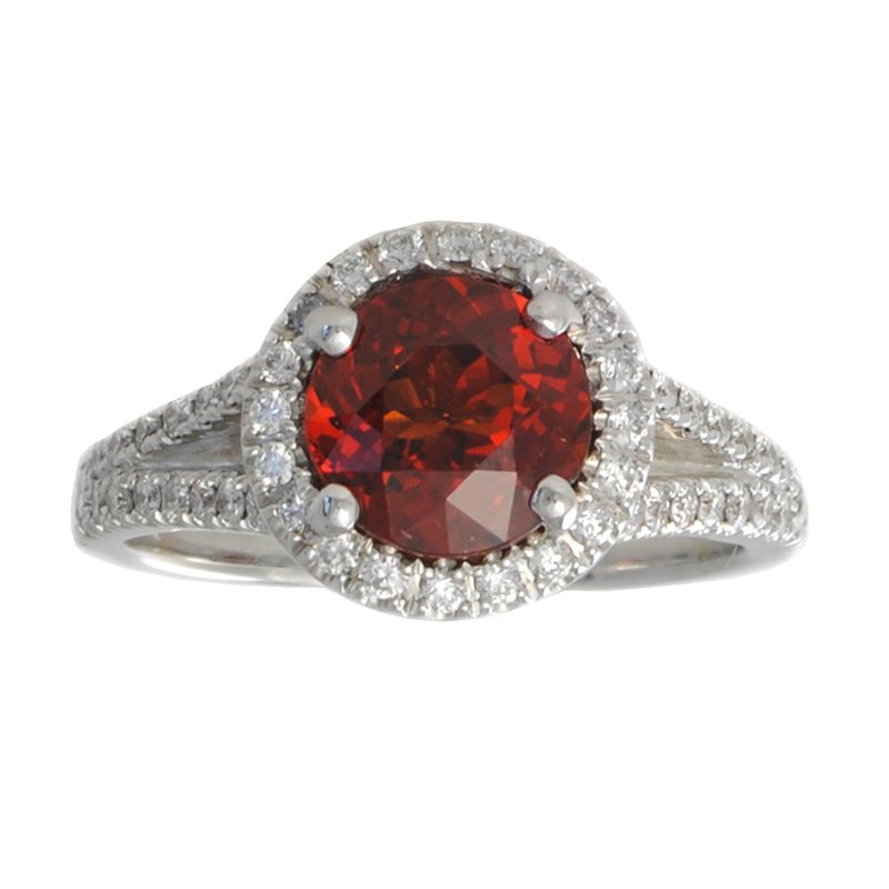 Extended Collection Spessartite Garnet (2.35ct) Ring with Diamond Melee in 18K White Gold