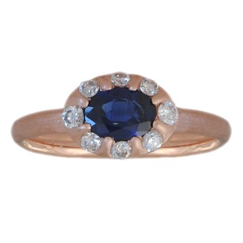 Sapphire (0.89ct) Ring with Diamond Accents in 14K Rose Gold