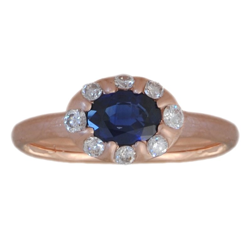 Michael Endlich Designs Sapphire (0.89ct) Ring with Diamond Accents in 14K Rose Gold