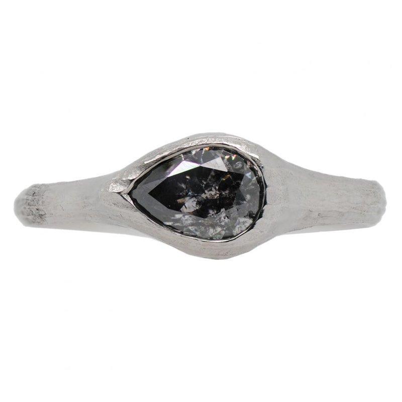 Michael Endlich Designs Pear Shaped Salt & Pepper Diamond (0.97ct) Ring in Platinum