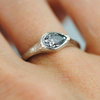 Pear Shaped Salt & Pepper Diamond (0.97ct) Ring in Platinum