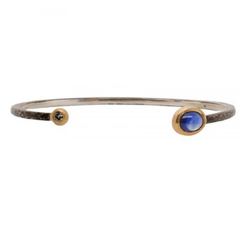 Oxidized Silver Cuff featuring a Sapphire and Diamond