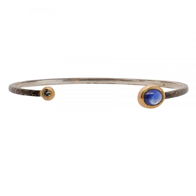 Pavé Fine Jewelry Oxidized Silver Cuff featuring a Sapphire and Diamond