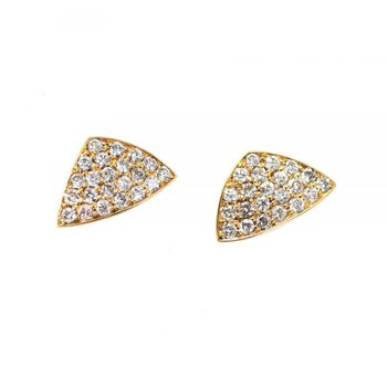 Kite Shaped Pavé Set Diamond Studs in 18K Gold