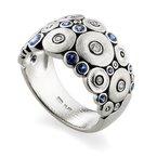 "Alex Šepkus ""Ocean"" Ring with Sapphires and Diamonds in Platinum"