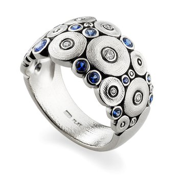 """Ocean"" Ring with Sapphires and Diamonds in Platinum"