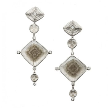 Diamond & Diamond Slice Platinum Earrings