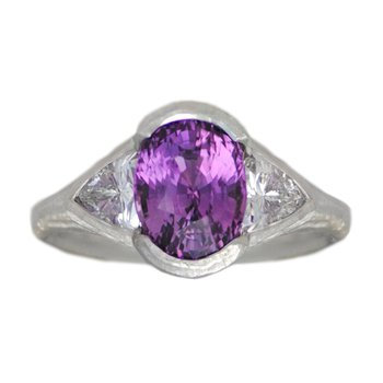 Purple Sapphire (3.04ct) Ring with Diamond Accents in Platinum