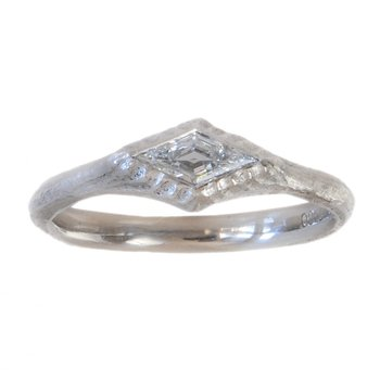 Kite Shaped Diamond (0.22ct) Ring in Platinum