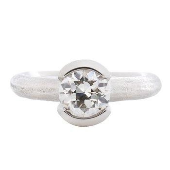 Partial Bezel Set Diamond (1.12ct) Ring in Platinum