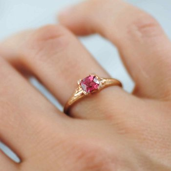 Cushion Cut Padparadscha Sapphire (0.71ct) Ring in 18K Rose Gold