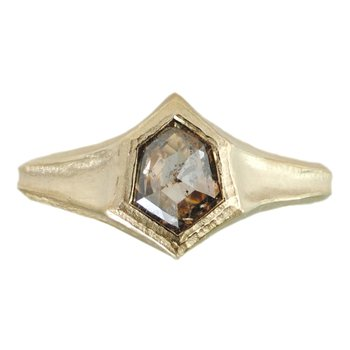 Kite Shaped Rustic Diamond Ring in 18K Yellow Gold