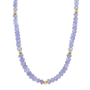 Tanzanite Strand Necklace with Gold Beads