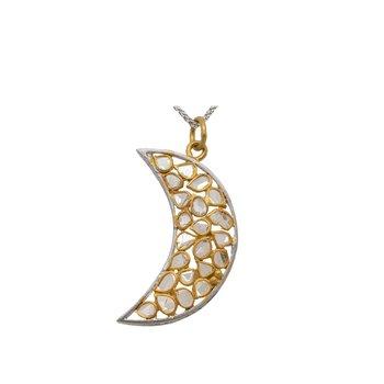 Diamond Slice Crescent Moon Pendant