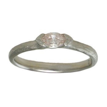 Pale Pink Marquise Diamond (0.22ct) Ring in Platinum