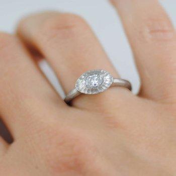 Oval Diamond (0.36ct) Ring in Platinum