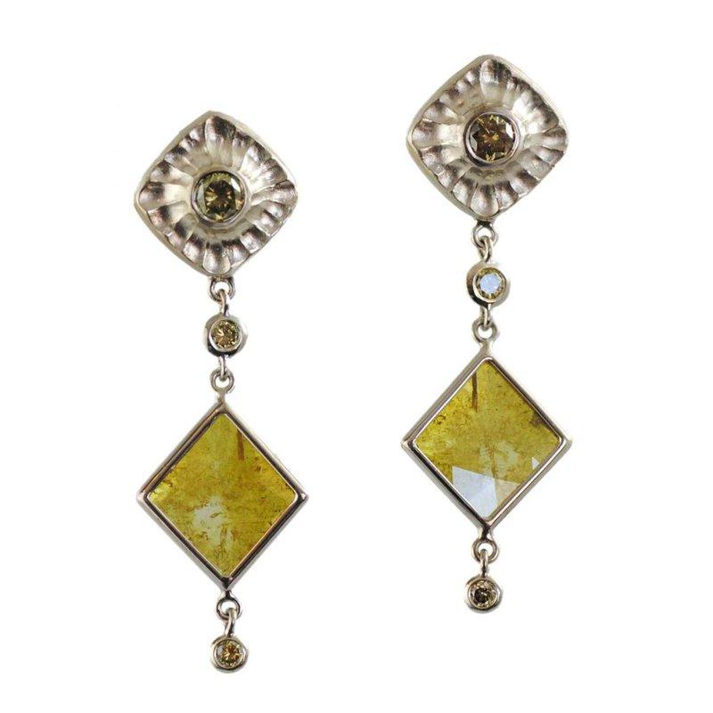Michael Endlich Designs Diamond Slice & Diamond Suspended Earrings