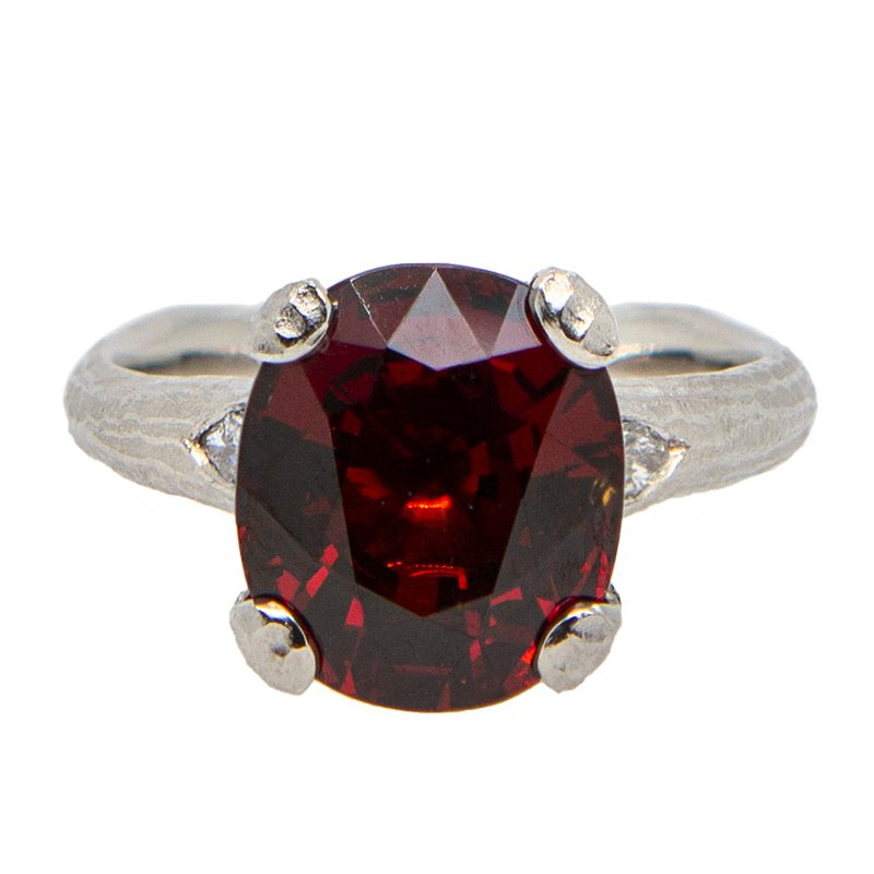 Michael Endlich Designs Garnet (8.14ct) Ring with Diamond Accents in Platinum