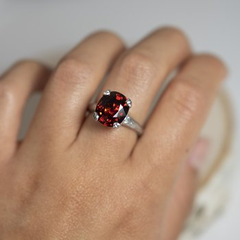 Garnet (8.14ct) Ring with Diamond Accents in Platinum