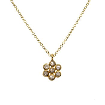 Daisy Diamond Pendant Necklace in Gold
