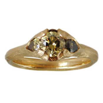 Yellow Diamond (0.61ct) Ring Flanked with Autumnal Diamonds in 18K Gold