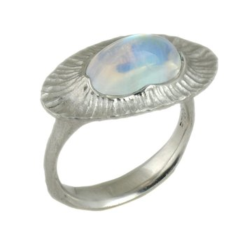 Oval Moonstone Statement Ring in Platinum