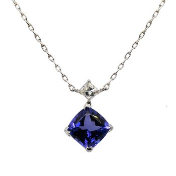 Tanzanite (3.00ct) White Gold Necklace with Diamond Accent