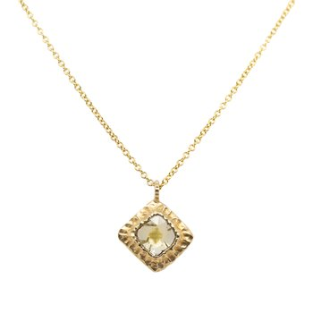 Diamond Slice and Textured Gold Necklace