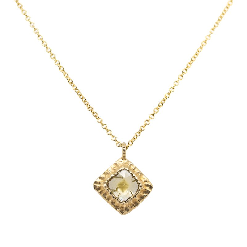 Michael Endlich Designs Diamond Slice and Textured Gold Necklace