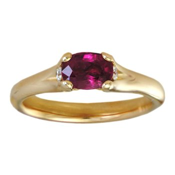 Ruby Ring with Diamond Accents in 18K Gold