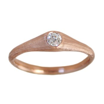 Rose Gold and Flush-Set Diamond (0.21ct) Solitaire Ring