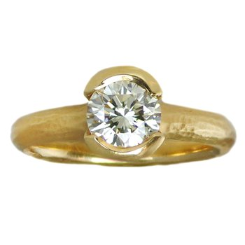 Split Bezel Set Diamond (1.14ct) Ring in 18K Yellow Gold