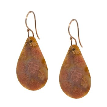 Bunga Agate Drop Earrings in Rose Gold