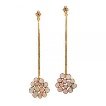 Sapphire Cluster Drop Earrings in 18K Gold