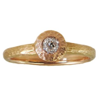 Bezel Set Round Diamond (.23ct) in Textured Pink Gold