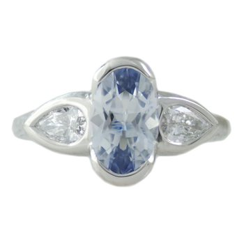 Light Blue Oval Sapphire (1.86ct) Ring with Diamond Accents in Platinum