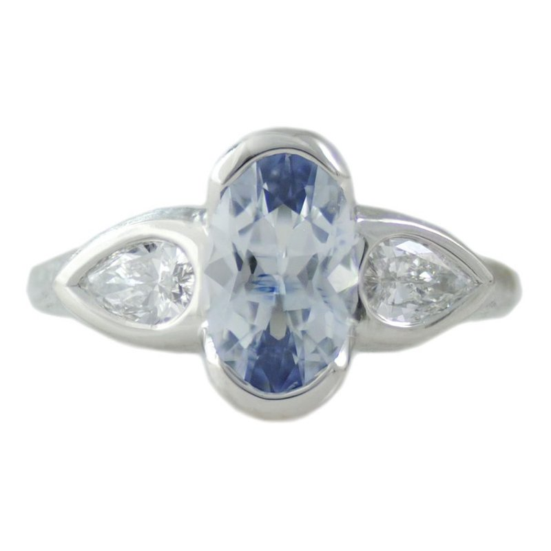 Michael Endlich Designs Light Blue Oval Sapphire (1.86ct) Ring with Diamond Accents in Platinum